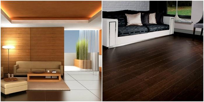 Подобранные в один тон цвет стен и мебель будут идеально сочетаться, а пол, сделанный из дерева, придаст контраста в комнате.