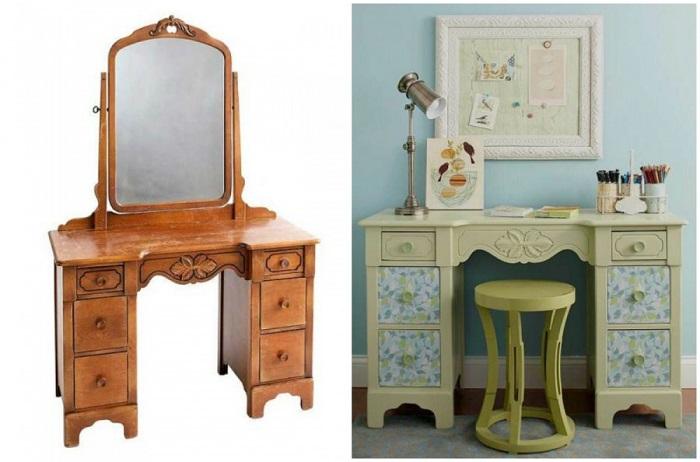 Из старого трюмо получится идеальный письменный стол, дизайн любого цвета можно сделать.