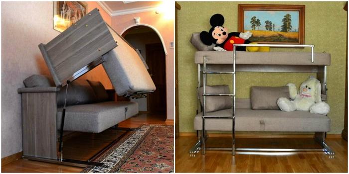 И что только в настоящее время не придумают. Самый обыкновенный диван превращается в двухэтажный.