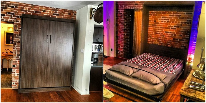 На первый взгляд, это шкаф, но на самом деле за ним скрыта большая кровать.