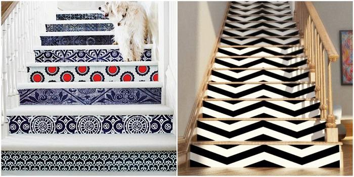 Замените обычный и скучный декор лестницы на что-то яркое, новое и интересное.