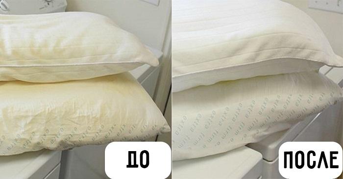 Пожелтевшая подушка превратится вв белоснежную.