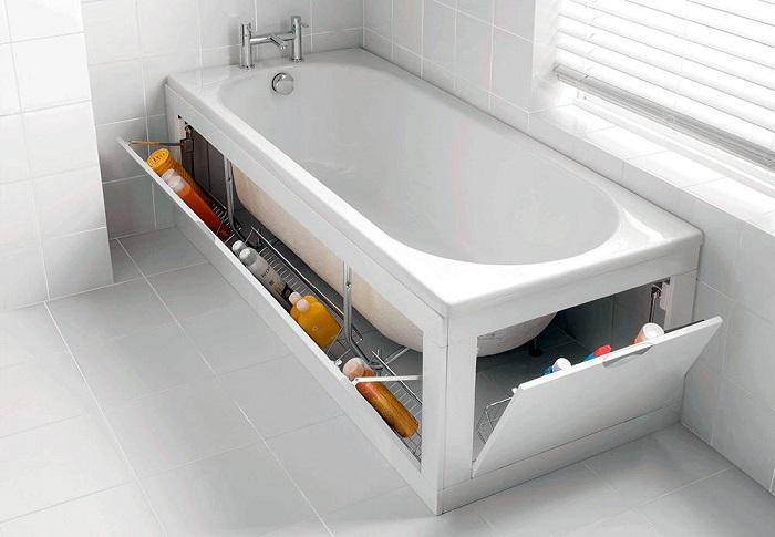 Если вы любите заниматься уборкой дома то, как правило, имеется не плохой арсенал всевозможных тюбиков, банок и бутылок с химией, а они занимают половину вашей ванной комнаты.