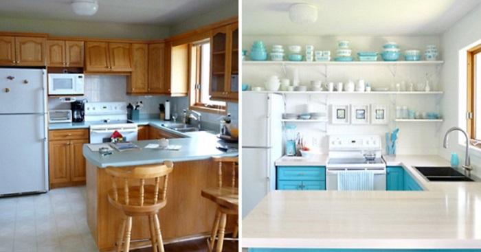 Обновив цвет мебели на кухне, вы получите новую, яркую и красивую кухню, но не стоит уподобляться прошлым временам, избавьтесь от надоедливых шкафчиков.