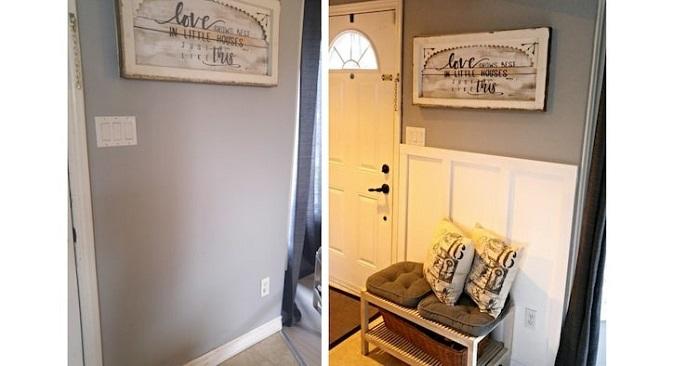 Установив такой настенный фартук возле входной двери, вы можете не переживать, что если облокотиться об стенку, одежда станет грязной.