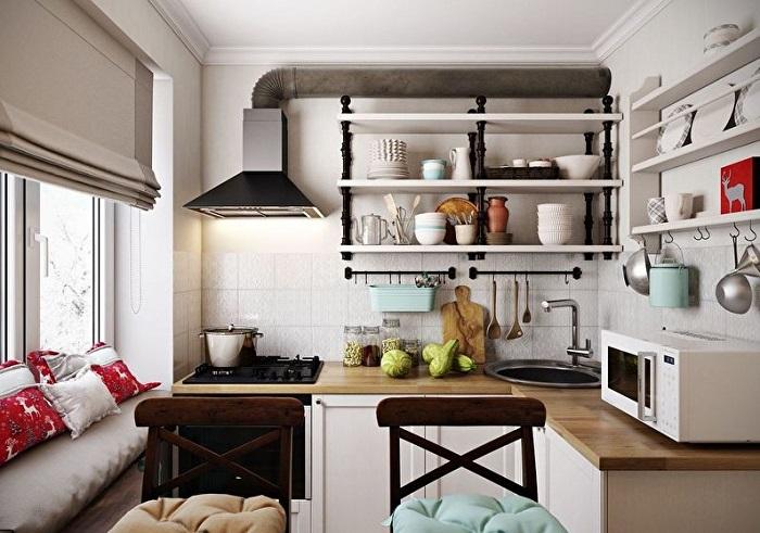Идея для тех, кто не любит большое количество шкафчиков на кухне.