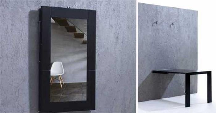 Удивите своих гостей такой идеей. Мало кто может подумать, что это зеркало легко превращается в стол.