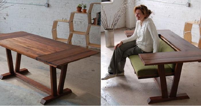 В одном положении стол для всей семьи, в другом положении небольшой диванчик с удобной полкой по всей длине дивана.