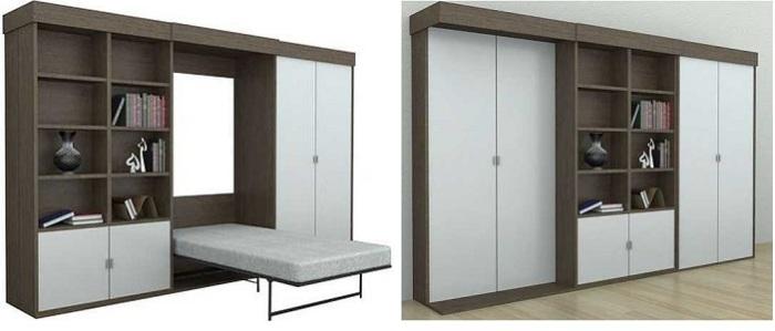 Два в одном. С виду обыкновенная стенка, но стоит отодвинуть середину стенки, внутри находится кровать.