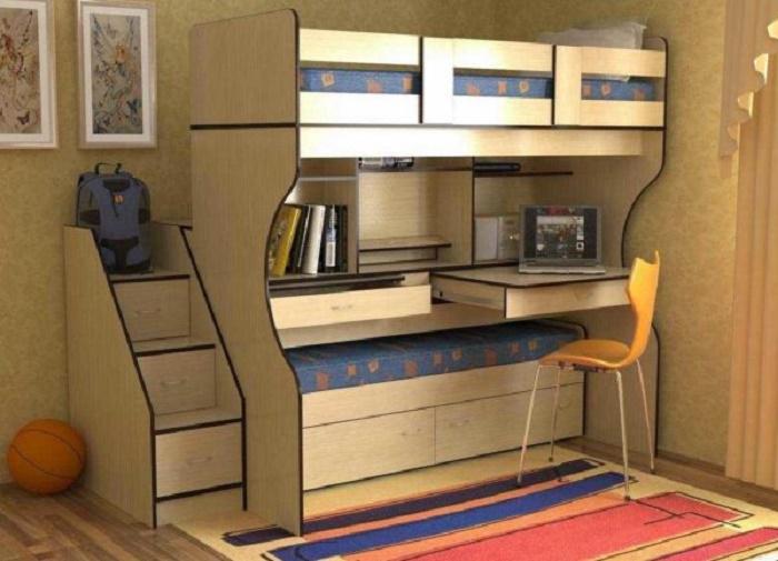 Для детей самое то. Стол для занятий, есть 2 спальных места. Занимает места минимум в комнате и все под рукой.