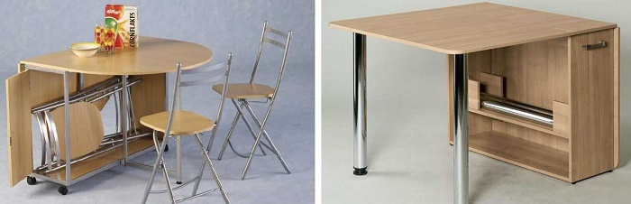 Идея интересная тем, что внутри стола можно спрятать стулья, и они не будут мешаться, и сам стол в собранном виде будет занимать мало места. Бесспорно удобный вариант со складывающимися ножками в столе.