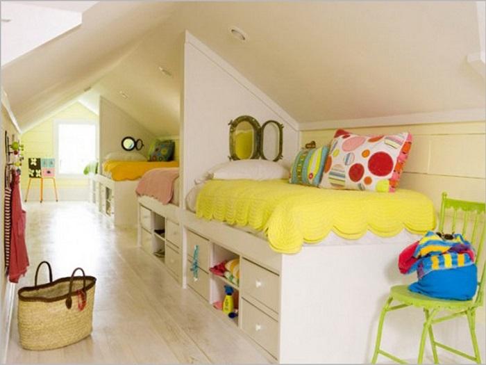 Дети будут в восторге от такой креативной комнаты.