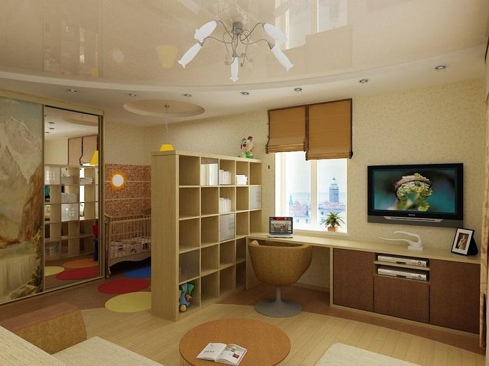 В этой идеи  заключается зал, рабочее место и мини-детская.