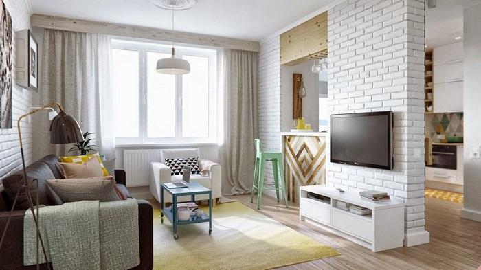 Отличный стиль, все светлое, и стены из кирпича всегда смотрятся выигрышно.