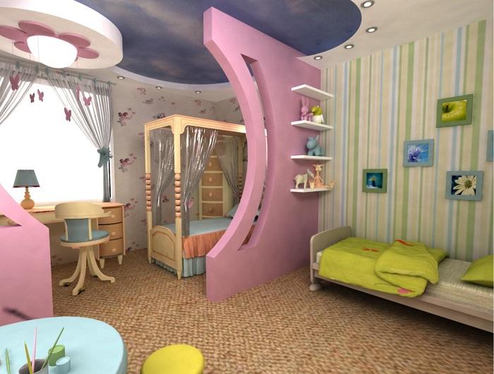 Отличный вариант для детской комнаты, плюс пару дополнительных полок для игрушек или чего-нибудь другого не повредят.