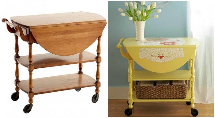 Из старого столика на колесиках получится замечательная яркая тумбочка, которую будет удобно перемещать по дому.
