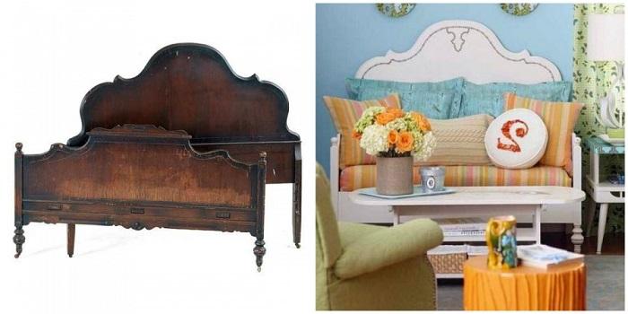 С помощью старой спинки от кровати вы можете сделать уникальный мини-диван для гостиной.