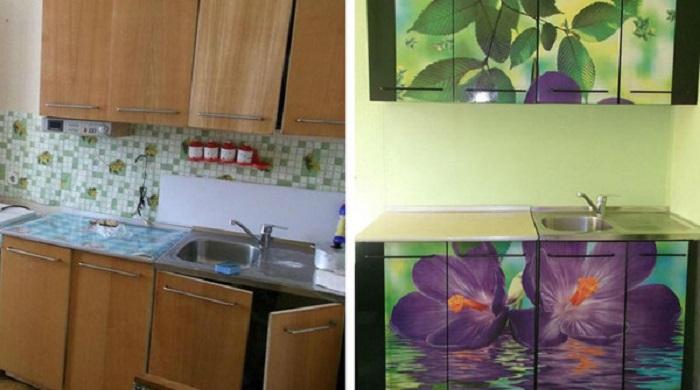 Обклейте старую кухонную мебель самоклеящейся лентой, и вы забудете, какой у неё был первоначальный вид.