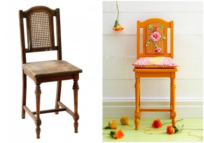Новый и яркий стул получится легко и просто. Выберете нужный цвет, покрасьте и украсьте цветами, такого в мебельном магазине точно не купишь.