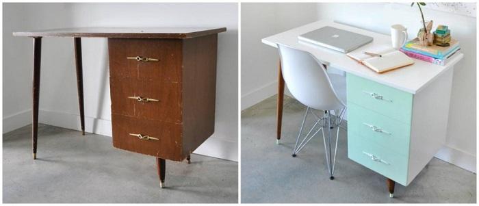 Приложив немного усилий, старый стол превратится в небольшой дизайнерский рабочий столик.