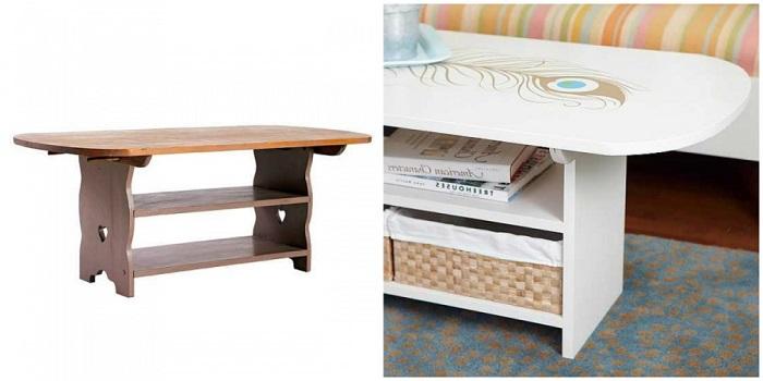 Превратите из старого и скучного столика светлый и необычный журнальный столик.