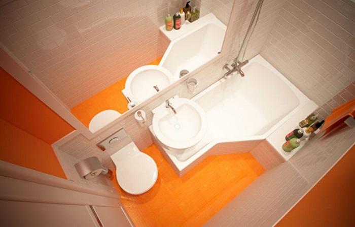 Этот вариант для тех, у кого ну совсем уж маленькая ванная комната.