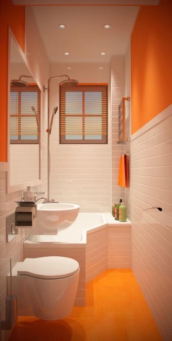 Бывает и такое, что ванная комната узкая, но выход всегда найдется.