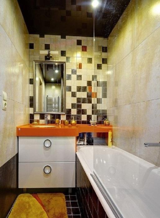 Ванная не обязательно должна быть в одном цвете или в двух, фантазируйте и всё получится.