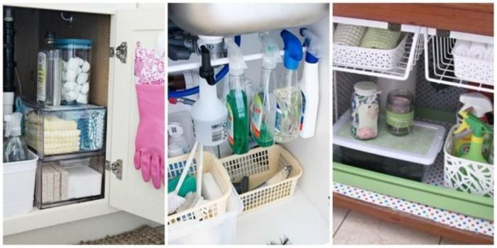 Лотки, коробки и контейнеры для моющих средств и прочих необходимых мелочей.