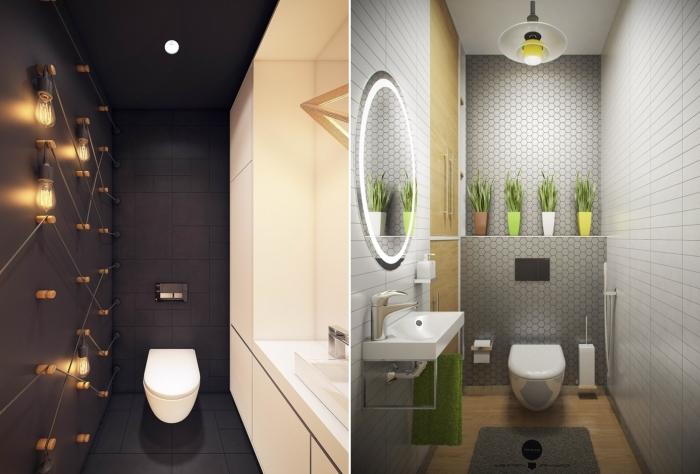 Светлая и темная гамма в дизайне туалета. / Фото: dizajny.guru.