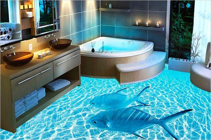 3D-пол в ванной комнате. \ Фото: vannayasvoimirukami.ru.