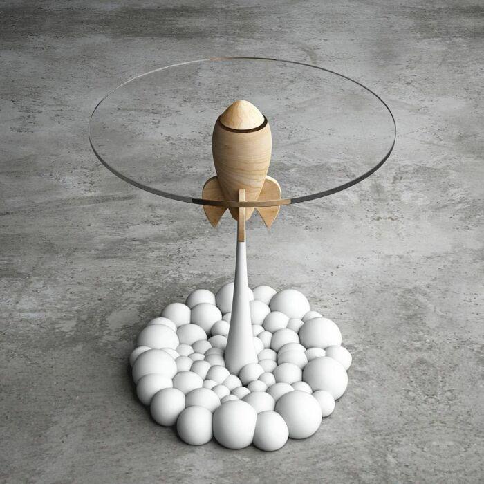 Необычный журнальный столик. \ Фото: facebook.com.