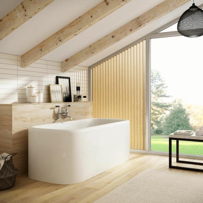 Элементы деревянной отделки в ванной комнате. \ Фото: westonebathrooms.com.