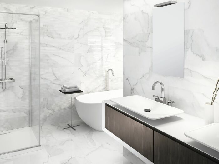 Мраморная ванная комната. \ Фото: pinterest.ru.