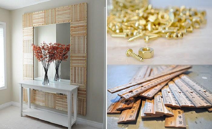 Декорируем раму для зеркала деревянными линейками. \ Фото: http://mosaicworksca.blogspot.com.