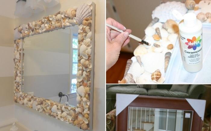 Декор зеркала ракушками. \ Фото: homedit.com.