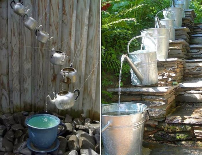 Идеи фонтана из леек и чайников. \ Фото: pinterest.de.