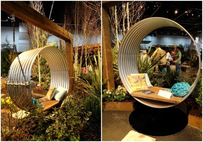 Качающаяся скамейка с тентом. \ Фото: bluefoxgarden.blogspot.com.