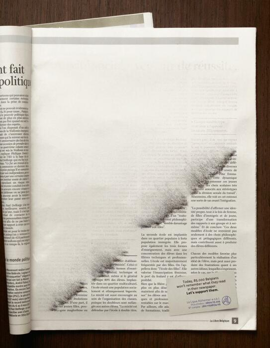 Печатная реклама, созданная Publicis для бельгийской лиги Альцгеймера. \ Фото: adsoftheworld.com.