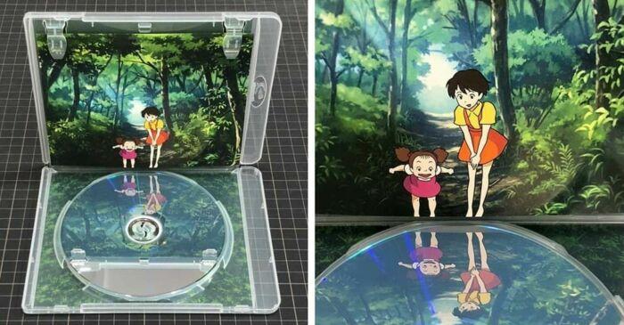 Студия Ghibli разработала эту коробку для DVD  так, словно героиня видит своё отражение в воде. \ Фото: pinterest.com.