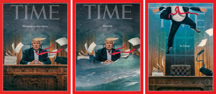 Time поместил на обложку Трампа в затопленном Овальном кабинете. \ Фото: artsy.net.