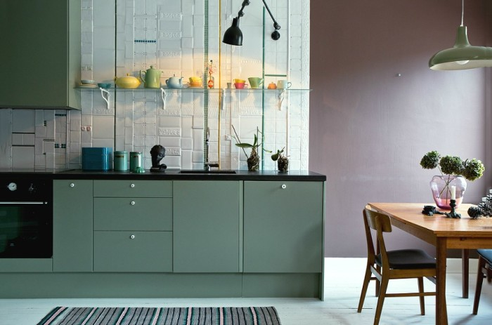 Кухня зеленого цвета. \ Фото: google.ru.