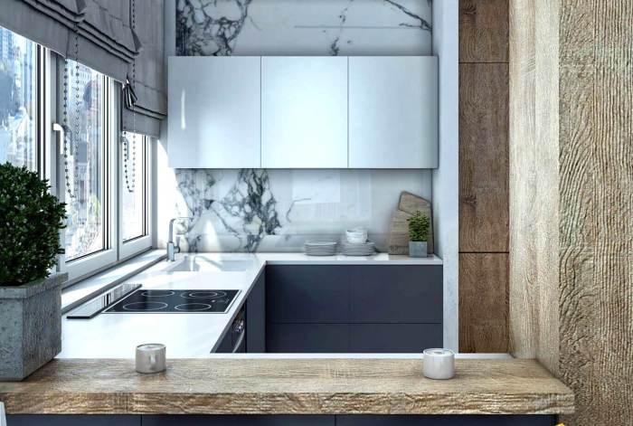 Оригинальное решение и дизайн для маленькой кухни. \ Фото: house-biz.com.ua