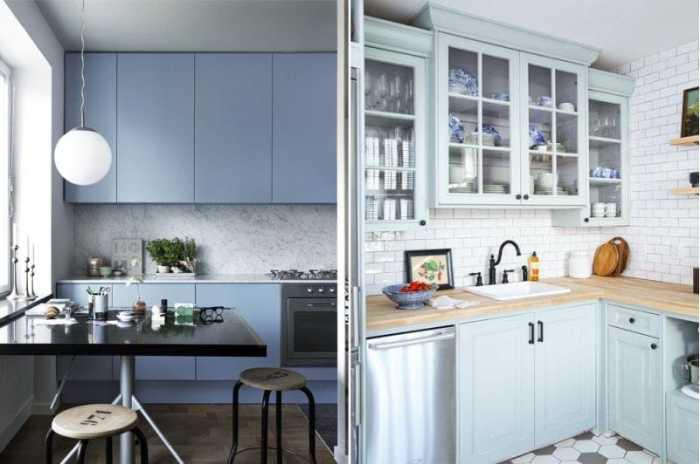 Маленькая кухня в голубых тонах и оттенках. \ Фото: google.ru.