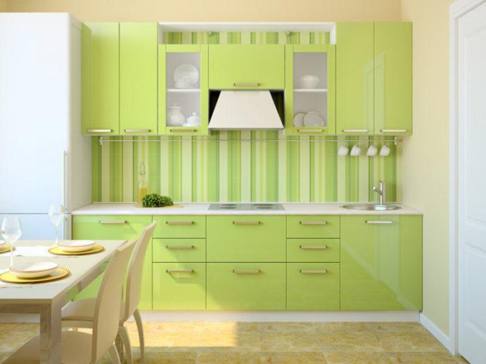 Кухня цвета лайма. \ Фото: dizajninfo.ru.
