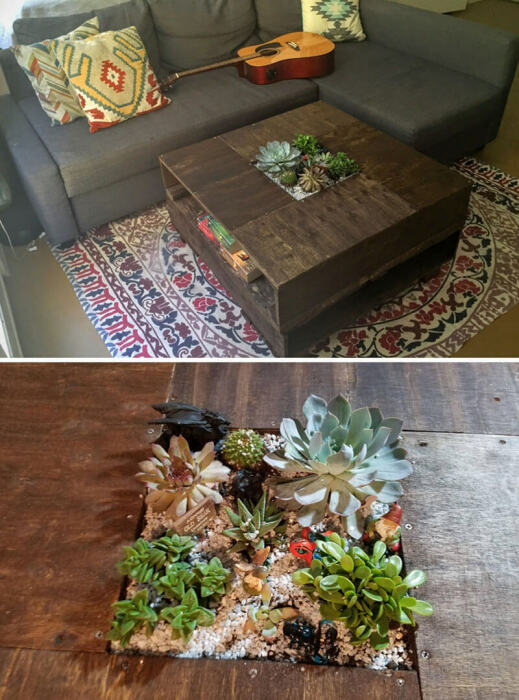 Симпатичный деревянный столик. \ Фото: designswan.com.