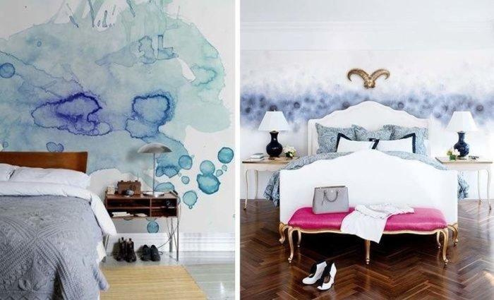 Акварельные мотивы на стенах в спальной комнате.