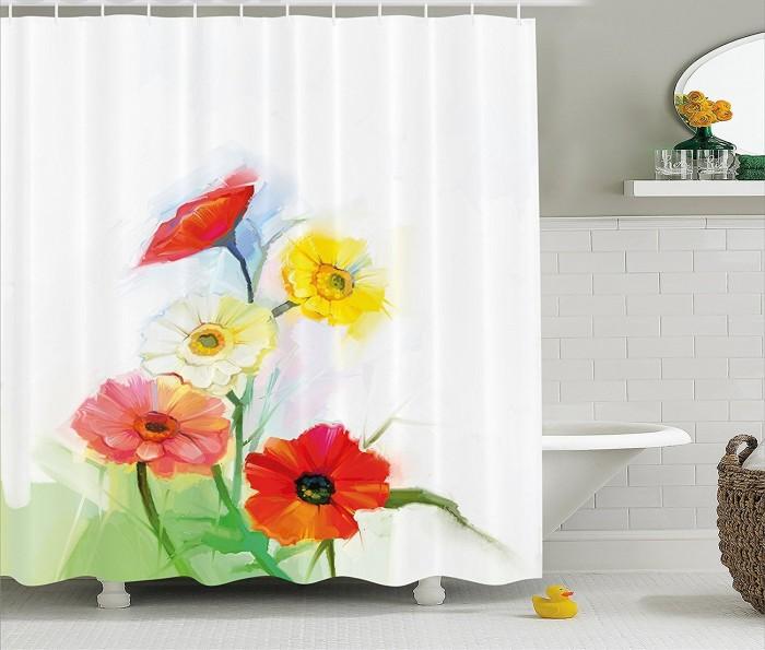 Акварельные маки - шторка для ванной.