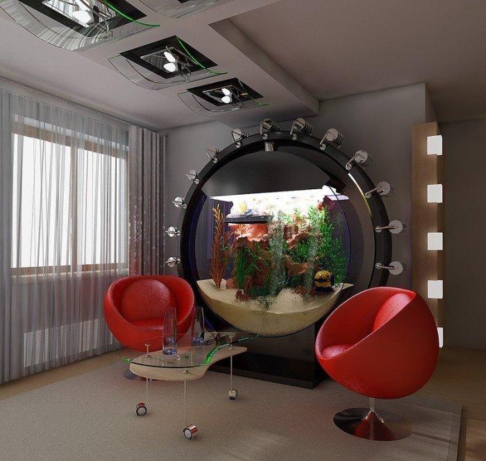 Оригинальный интерьер с аквариумом.
