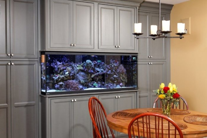 Шкаф со встроенным аквариумом.
